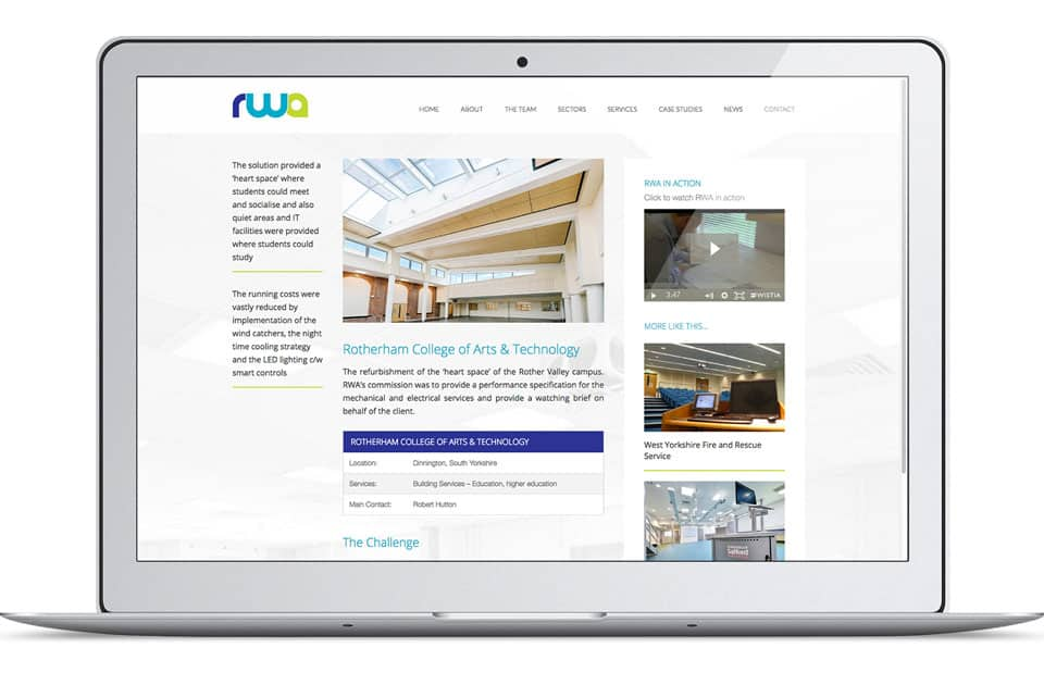 Screenshot from Robert Whetham Associates website showing a case study