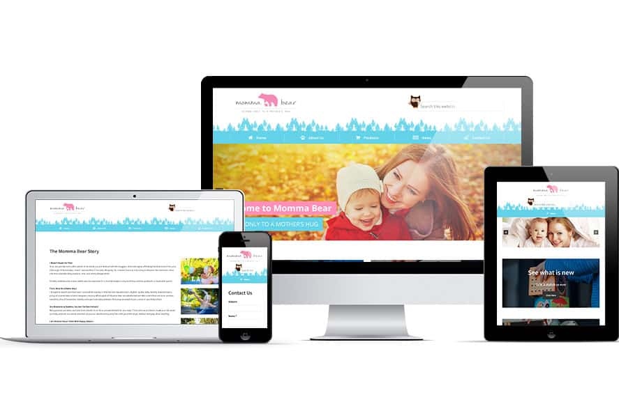Momma Bear website displayed on several Apple devices
