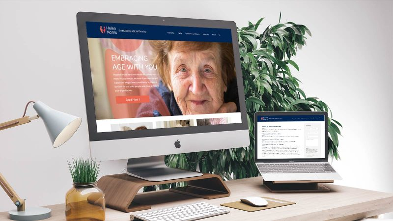 Helen Morris website mocked up on Mac devices