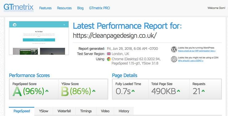Clean Page Design GT Metrix test results