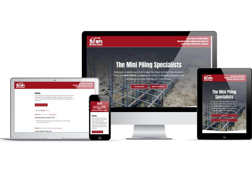 Mini Piling Solutions website on Apple devices